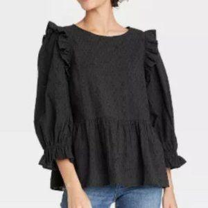 UNIVERSAL THREAD black puff sleeve ruffle blouse